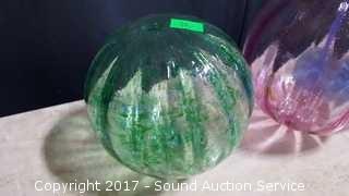 (3) Hand Blown Art Glass Scalloped Balls