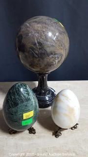 Solid Marble Ball & Marble Eggs w/Stands