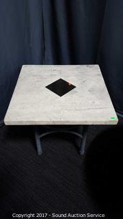 Travertine Tile & Metal Base Table
