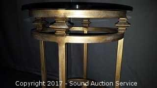 Patina Solid Wrought Iron Glass Top Side Table