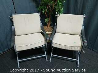(2) Hollow Wrought Iron Padded Patio Arm Chairs