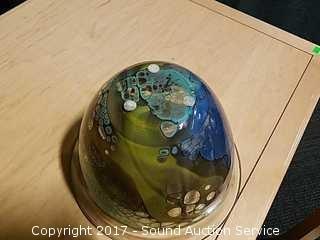 Stunning Artist Signed Iris Art Glass Bowl