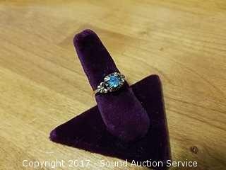 Vtg. 10k Gold & Aquamarine Ring