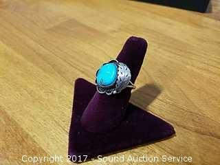 Sterling & Turquoise Unmarked Native American Ring