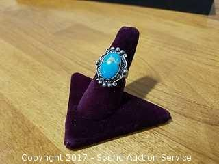 Signed Native American Sterling & Turquoise Ring