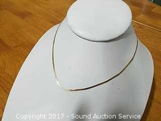 "Petite 14k Gold Herringbone 16"" Necklace"