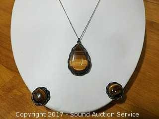 14k Gold Sterling & Tigers Eye Necklace & Earrings