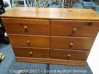 Pine 6 Drawer Lowboy Dresser