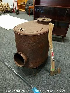 Rustic Metal Stove W/ Hickory Forge Splitting Axe