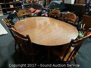 Dining Table W/ 6 Chairs & (2) Leaves