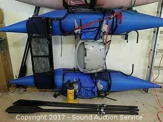 Creek Company Classic XL Blue Pontoon Boat w/Oars
