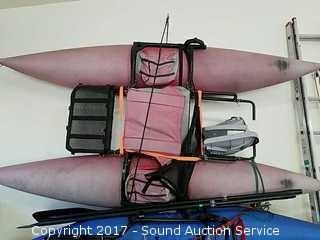 ODC Jetpack Red Pontoon w/Oars & Hard Seat