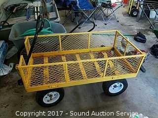 "Yellow Metal Yard Cart 45"" x 23"""