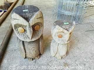 Pair of Wooden Yard Art Owls