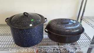 Pair of Enamel Roasting & Canning Pots