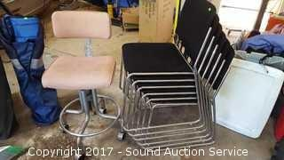 6 Stacking Metal Padded Chairs & Rolling Chair