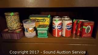 Shelf of Vtg. Tins & Soda Cans
