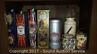 Shelf of Vtg. Liquor Tins & Others