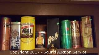 8 Vtg. Liquor Tins