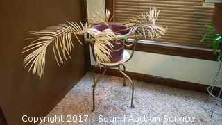 Wrought Iron Plant Stand w/Palm Plant & Planters