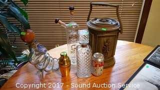 Vtg. Liquor Decanters, Martini Shaker & Ice Bucket