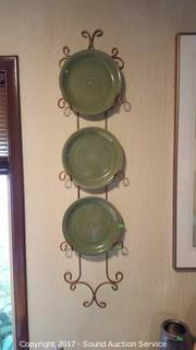 Wrought Iron Plate Rack Wall Decor w/Plates