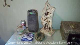 Pottery Hercules Sculpture, Vase & More