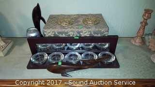 Ironwood Dolphins, Candle Holder & Cloth Box