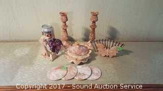 Red Marble Decor, Trinket Box & Coasters