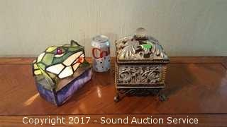 Stained Glass Frog Lamp & Trinket Box