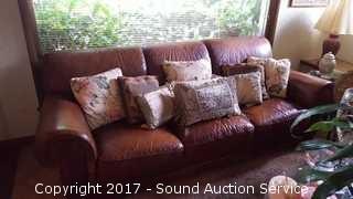 Genuine Leather Sofa & Various Throw Pillows
