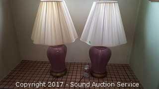"""Pair of Purple Porcelain Table Lamps 31"""""""