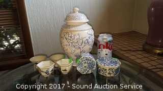 Vtg. Blue Saki Cups, Urn & Trinket Dish