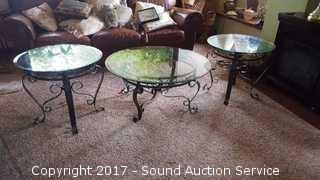 Wrought Iron & Glass Coffee Table & End Tables