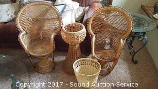 Childs Wicker Woven Chairs, Planter & Waste Basket