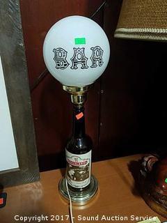 "Whiskey Bottle Bar Lamp w/Glass Globe 20"""