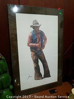 G. Snidow Framed Cowboy Print NIP