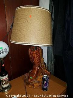 """Unique Signed Western Themed Pottery Lamp 31"""""""