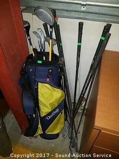 Dunlop Golf Club Bag w/Various Golf Clubs