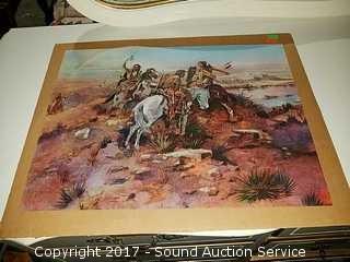 Vtg. CM Russell Cowboy Print