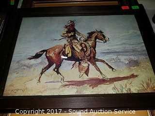 "Framed CM Russell Western Print 16"" x 12"""