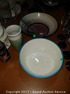 A/S Art Pottery Vase & Bowls