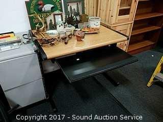 Oak & Metal Desk w/Pullout Table