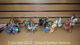 9 Plastoy Medieval Knights w/ Lances & Weapons