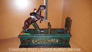 Cast Iron Mechanical Show Jumper Coin Bank