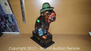 Cast Iron Mechanical Ole Puffer Dog Coin Bank