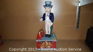 Cast Iron Mechanical Uncle Sam Coin Bank