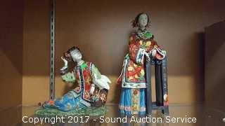Hand Crafted Chinese Girls Pottery Sculptures