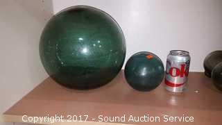 """Antique 10"""" & 5"""" Japanese Glass Fishing Floats"""