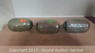 3 Antique Egg Japanese Glass Fishing Floats